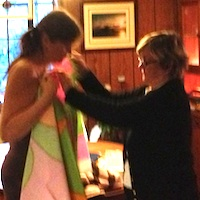 Tina's mother fitting her for a dress